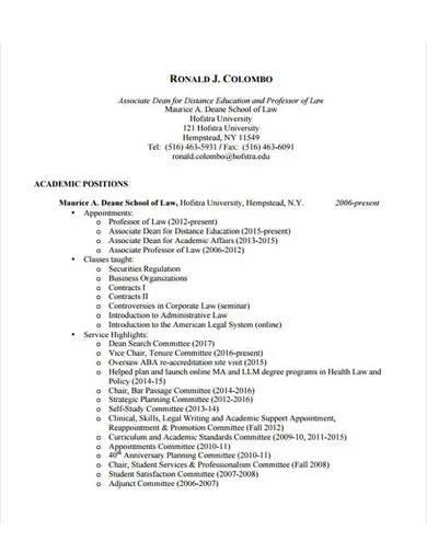 law professor curriculum vitae