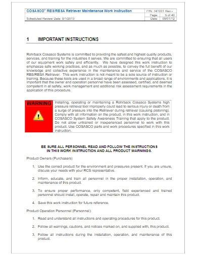 maintenance work instruction