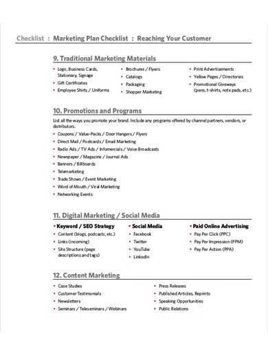 marketing plan checklist template