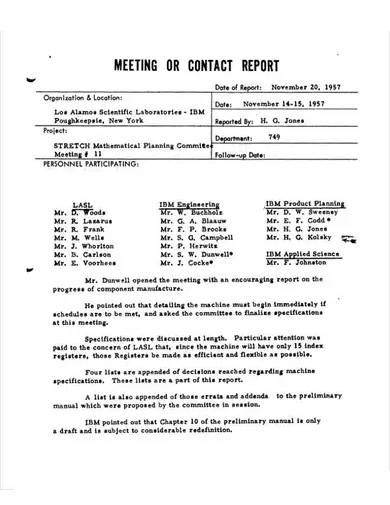 meeting or contact report