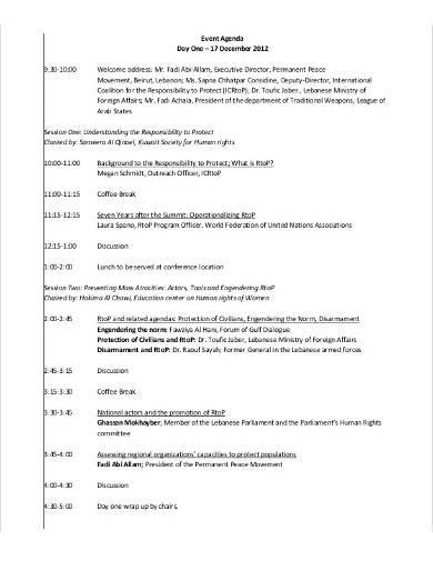 one day event agenda sample