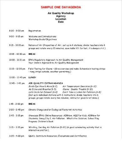 one day workshop agenda