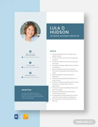 outdoor account executive resume template