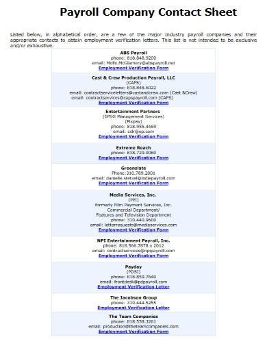 payroll company contact sheet