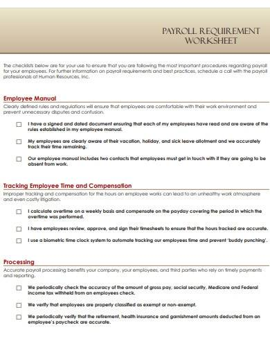 payroll requirement worksheet