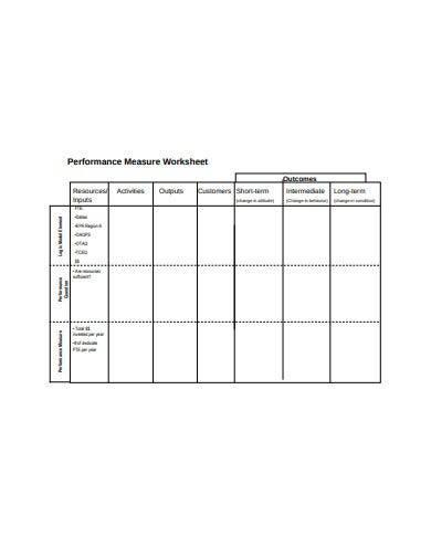 performance measure worksheet