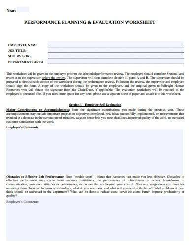 performance planning and evaluation worksheet