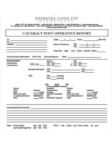 post operative report sample