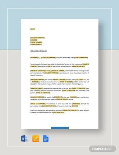 press release new partnership collaboration template