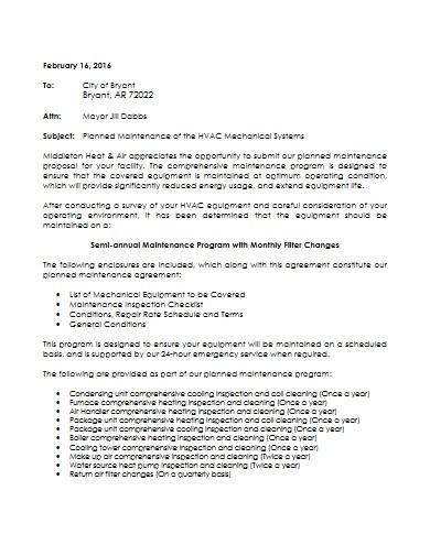 preventative hvac maintenance proposal