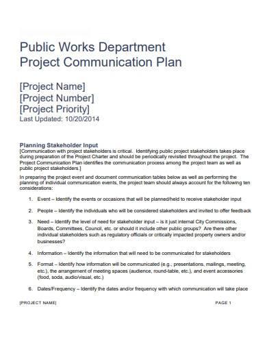 printable project communication plan