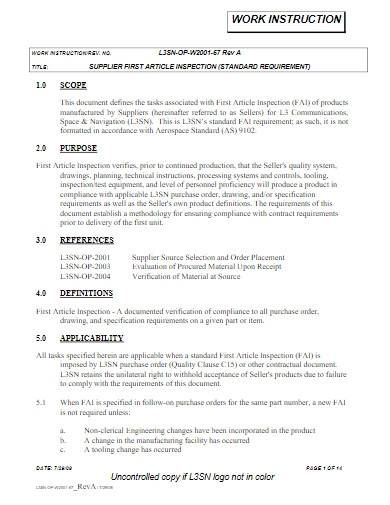 printable work instruction template