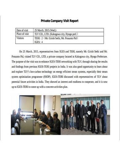 private company visit report
