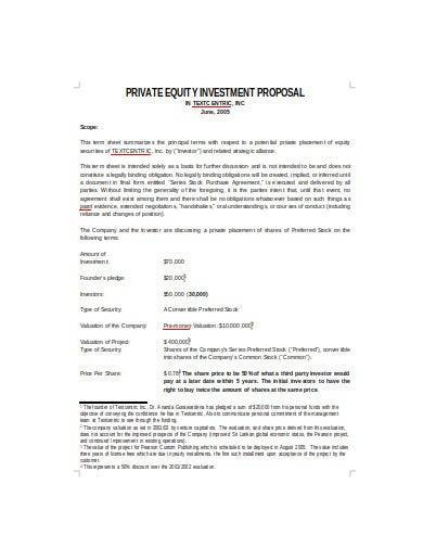 private equity investment proposal