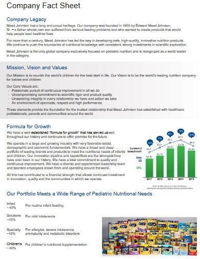 professional company fact sheet