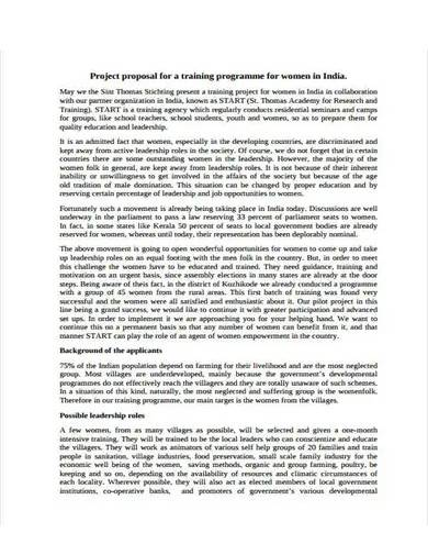 project proposal for training program