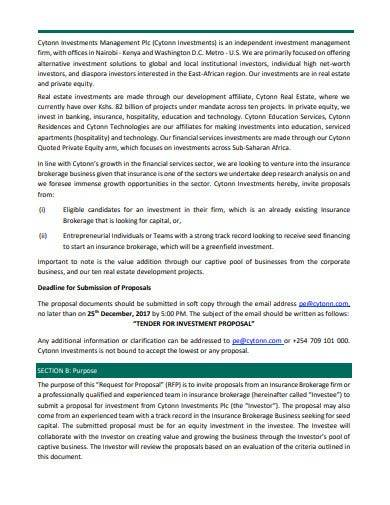 proposal for private equity investment