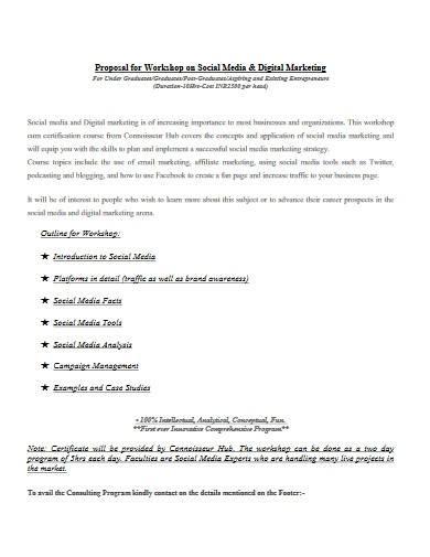 proposal for workshop on digital marketing