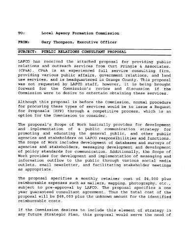 public relations consultant proposal