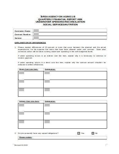 quarterly financial report form