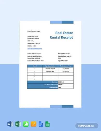 real estate rental receipt template