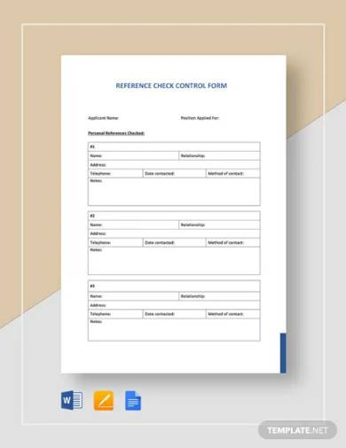 reference checking form template