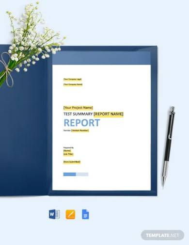 report test summary template