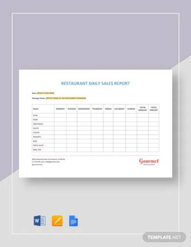 restaurant daily sales report template
