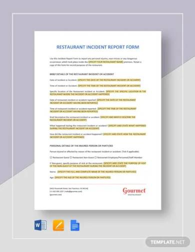 restaurant incident report template