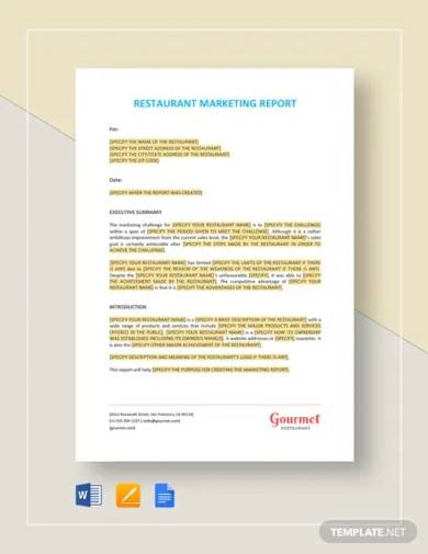 restaurant marketing report template