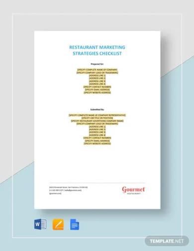 restaurant marketing strategies checklist template
