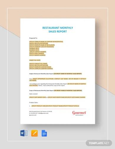 restaurant monthly sales report template