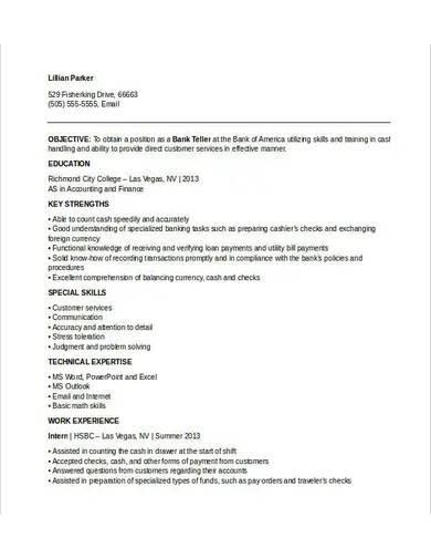 retail banking teller resume