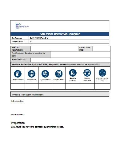safe work instruction template