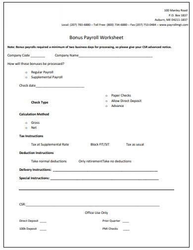 sample bonus payroll worksheet