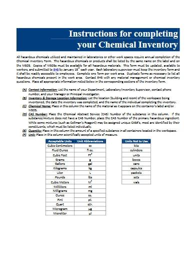 sample chemical inventory list