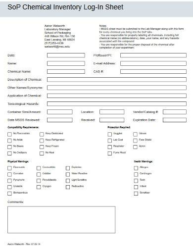 sample chemical inventory sheet