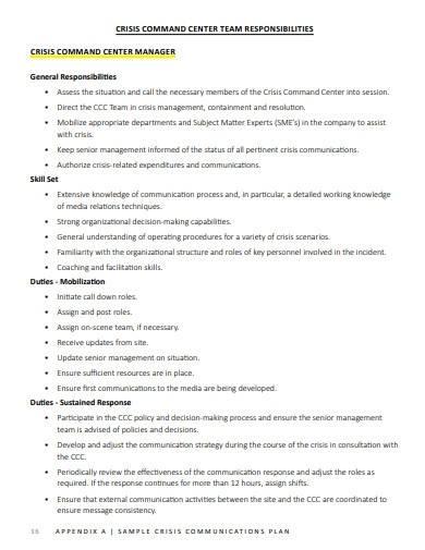 sample crisis communication plan format
