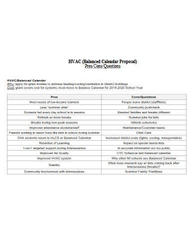 sample hvac calendar proposal