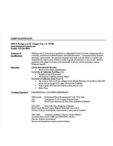 sample head coach resume template