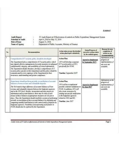 sample it audit report template