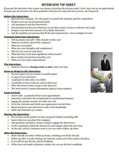 sample interview tip sheet