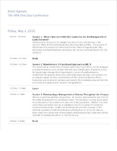 sample one day conference agenda