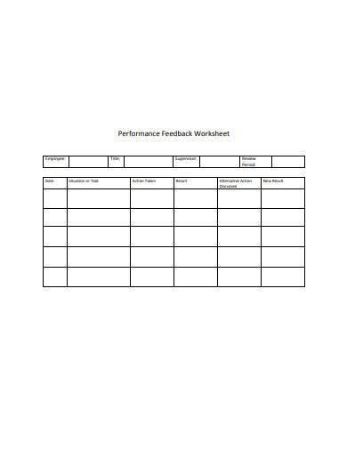 sample performance feedback worksheet
