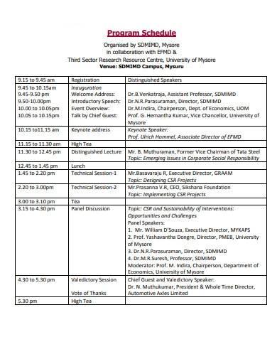 sample program schedule format