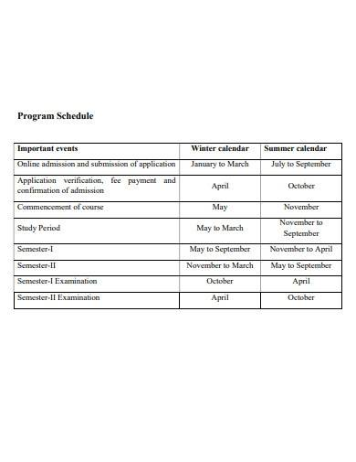 sample program schedule