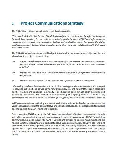 sample project communications strategy