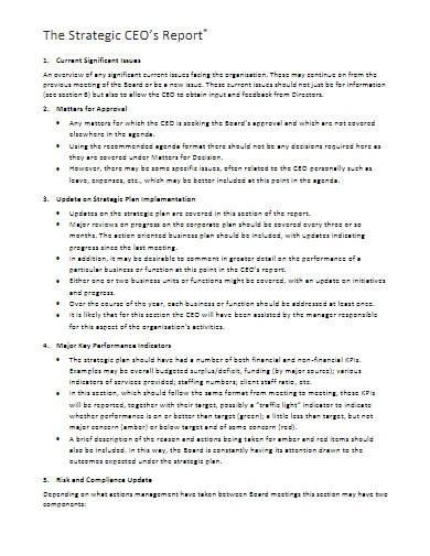 sample strategic ceo's report