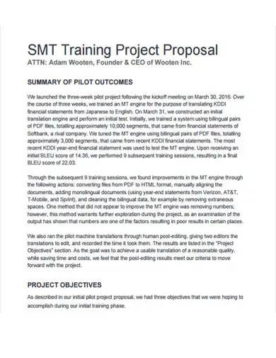 sample training project proposal