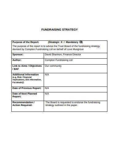 sample trust fundraising strategy